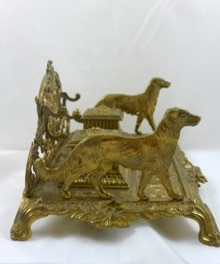 19th Century French Gilt Bronze Double Inkwells Side - Dog's Tale Collectibles