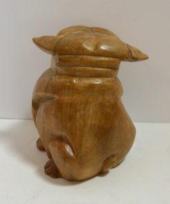 Folk Art Wood Carved Sitting Bulldog back 141- Dog's Tale Collectibles