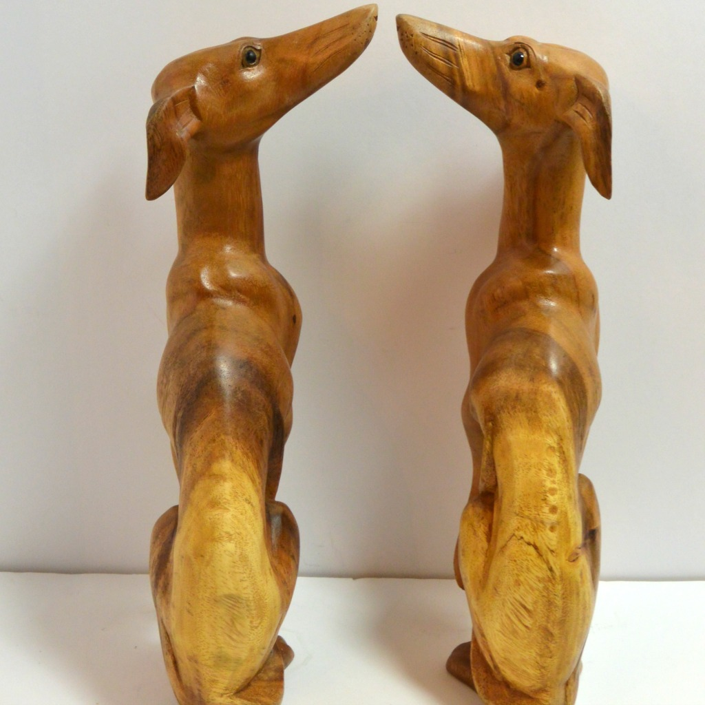 Pair of Whippet Dog Figurines Back- Dog's Tale Collectibles