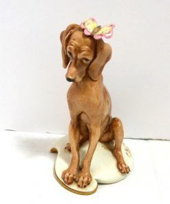 Capodimonte Italian Porcelain Dog with Butterfly Frnt- Dog's Tale Collectibles