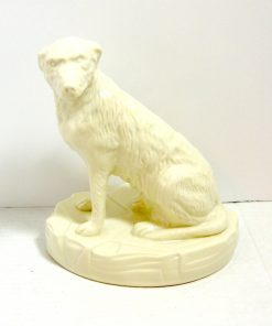 White Belleek Irish Wolfhound Dog Side 1- Dog's Tale Collectibles