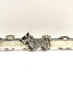 Victorian Sterling Silver Posy Pin with Scottie Dog 85- Dog's Tale Collectibles