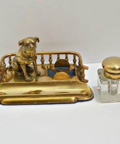 Antique Brass and Crystal Inkwell Front- Dog's Tale Collectibles