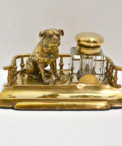 Brass and Crystal Inkwell with Figural Pug Front 88- Dog's Tale Collectibles
