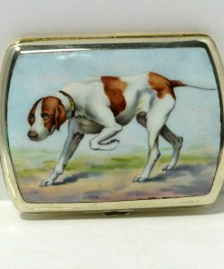 German Silverplate and Enamel Sporting Dog Front- Dog's Tale Collectibles